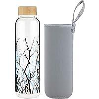 FCSDETAIL Sport Borosilikat Trinkflasche Glas Wasserflasche mit Neopren-Hülle mit Bambusdeckel 420 ml / 660 ml /1000 ml