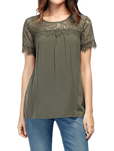M (US 10) , Green : Allegra K Women's Round Neck Lace Panel Short Sleeves Loose Top