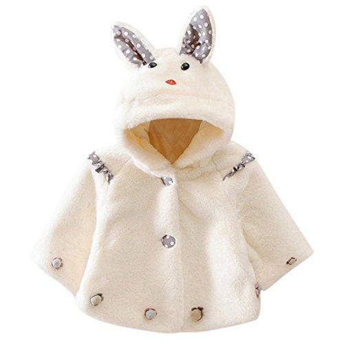Baby Säugling Mädchen Herbst Winter Mit Kapuze Mantel Mantel Jacke Dick Warm Kleider Baumwolle Oberbekleidung Outfit zum Ihre Wenig Prinzessin_Hirolan (100cm, Weiß) (Prinz Outfits Für Kleinkinder)