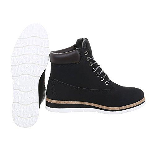 Schnürstiefeletten Damenschuhe Schnürstiefeletten Schnürer Schnürsenkel Ital-Design Stiefeletten Schwarz