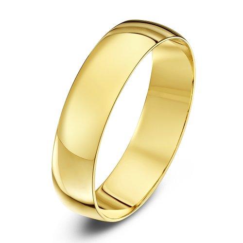 Theia Unisex - Ehering Schweres D-Form 9ct gelbgold 5mm - Gr. 52 (16.6) TH1229 Herren Weiß Gold 5mm Ehering
