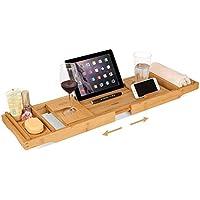 HOMFA Bandeja de bambú con 2 cajas de toalla y 1 caja de jabón para Bañera estensible con Atril para Libros o ipad con Estante para móvil, copa de vino, jabón o vela Versión actualizada (74.5-108.5)x22.5x.4.5cm