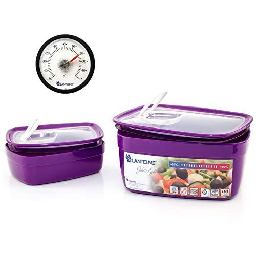 Lantelme 3 TLG Mikrowellenschüssel Kühlschrank Thermometer Set Schüssel Mikrowelle Inhalt 1,8 Liter 0,5 Liter 4524