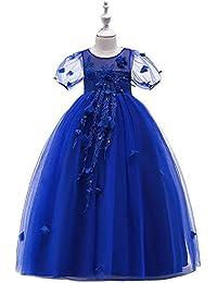 Vestidos de niña niños Boda de época Pageant Vestido de tul de flores con cola de rata Borde Vestidos para niñas de los…