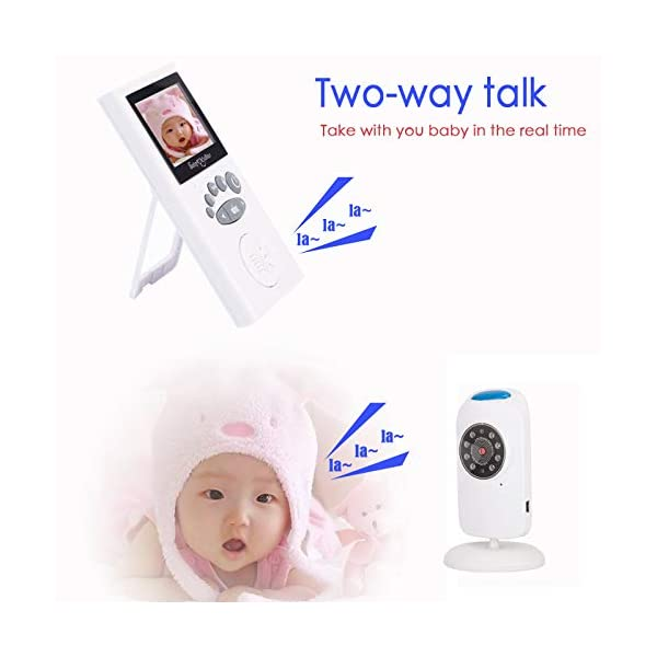 LifetSmart Baby Monitor,Digital Video Baby Monitor 700FT Operating Range with Infrared Night Vision,Two Way Talk,Ambient Light,Temperature Sensor and 5 Classic Lullabies LifetSmart UPGRADED 2018 VERSION :This baby monitor featured with 2.4ghz Fhss wireless technology which won't interfer wifi.With camera allows you to monitor the baby's activities in real time without missing any precious moment. You can also use the baby monitor to check elders. TWO-WAY TALK:Built-in high sensitivity microphone and speaker,the digital video baby monitor allows you to talk with your baby with the sound of your own voice to comform him/her when they are crying. NIGHT VISION & AMIENT LIGHT :Equipped with automatic night vision function,it will automatically detect light conditions and provide clear images to see your baby during the night. There is also a warm nightlight on the top of the camera which can create a comfortable atomasphere for baby. 3