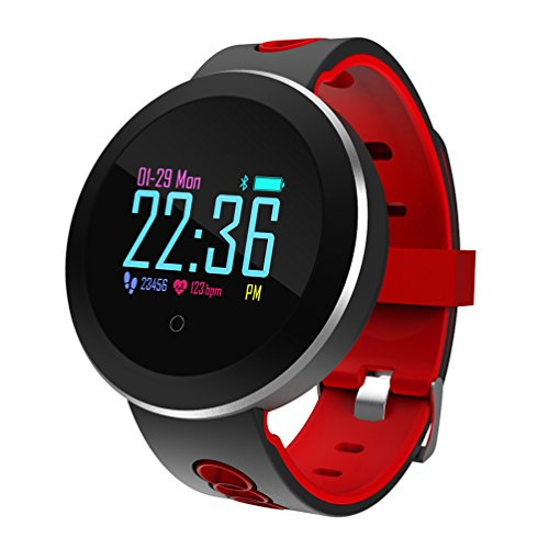Fitness Tracker Smart Armband Q8 Pro Farbanzeige Pulsmesser IP68 Wasserdicht Touchscreen Bluetooth Pedometer Armband Schlaf Monitor Unterstützung Mehrere Sprachen Geeignet Für Frauen Männer Android Und IOS,Red