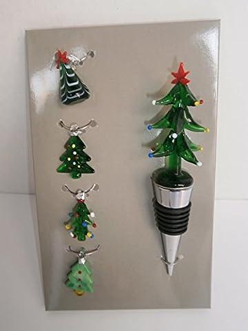 Christmas themed Bottle Stopper & Wine Glass Charm Set (Snowman)