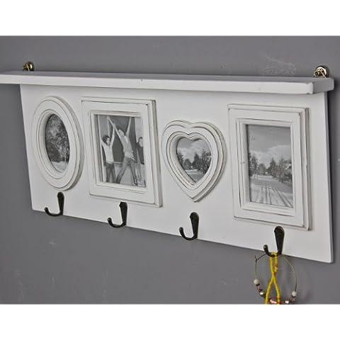 elbmöbel - Perchero de pared con marcos de fotos (madera), color blanco envejecido