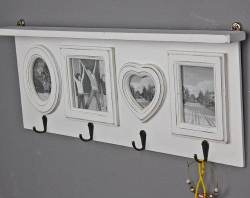 BILDERRAHMEN Garderobe Herz weiß antik shabby Rahmen Wandrahmen Fotorahmen Holz
