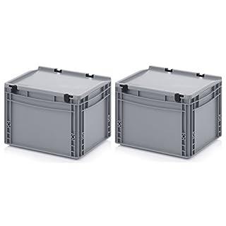 2x Eurobehälter-Eurobox 40 x 30 x 28,5 mit Scharnierdeckel inkl. gratis Zollstock * 2er Set