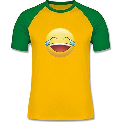 Statement Shirts - Tränen Lachen - Emoji - zweifarbiges Baseballshirt für Männer Gelb/Grün
