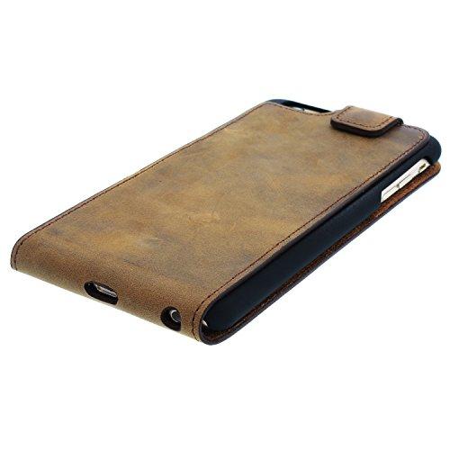 """Blumax Apple iPhone 6 Plus / 6s Plus 5,5"""" Zoll FlipCase Handyhülle aus Leder im Vintage-Stil mit Magnetverschluss Farbe Antik-Brown Premium Geschenkidee Antik Hellbraun"""