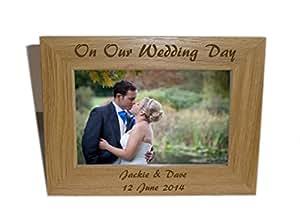 On Our Wedding Day Holz 8x 6–Personalisieren dieses–GRATIS Gravur