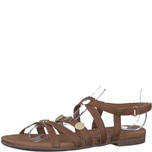 Tamaris Schuhe 1-1-28138-38 bequeme Damen Sandalette, Sandalen, Sommerschuhe für modebewusste Frau, braun (COGNAC), EU 41
