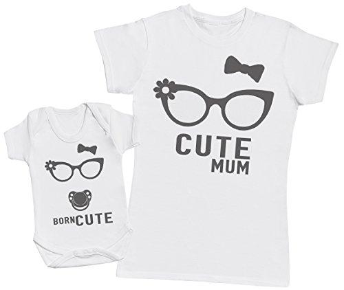 Born Cute - regalo para madres y bebés en un body para bebés y una camiseta de mujer a juego - Blanco - Large & 12-18 meses