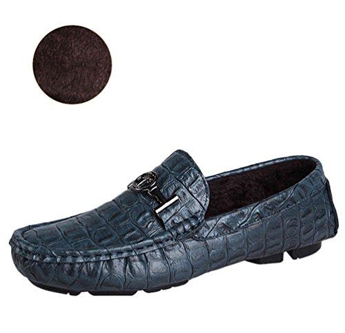 Anguang Femmes Hommes Unisex PU en Cuir Rétro Chaussures Bateau Plat Slip On Loafers Mocassins Chaussures de Conduite Bleu#1