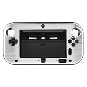 OSTENT Anti-Schock Hard Aluminium Metall Box Cover Case Shell kompatibel für Nintendo Wii U Gamepad Farbe Silber