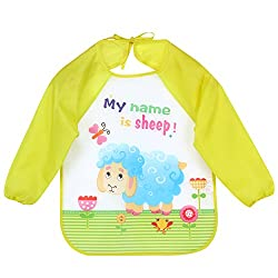 Zibuyu Long Sleeve Waterproof Coverall Baby Animals Toddler Scarf Feeding Smock