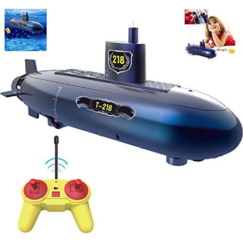 OMZBM Mini RC U-Boot-Fernbedienung Spielzeug,RC Speed Racing Boats Outdoor-Abenteuer Pigboat-Modell,Elektronisches wasserdichtes Unterwassertauchspielzeug für Heimwerker,blau