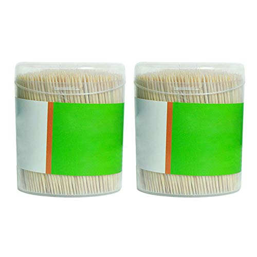 Soldmore7 Bambus-Holz-Zahnstocher, 1000 Stück, große Holz-Zahnstocher in Transparenter Kunststoff-Aufbewahrungsbox, stabil, doppelseitig, Party, Oliv, Grill, Obst, Zahnstocher