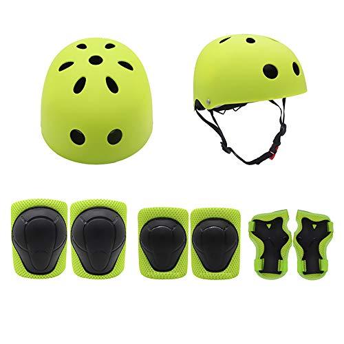 Helm für Kinder Reiten Ellenbogen Armband blau Anzug Kniepolster 7-teiliges Set Rollschuh Schutzausrüstung BAAYD Voll Skateboard Skate Balance Bike Schutz-Green