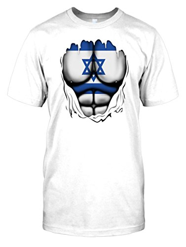 Mens t-shirt DTG Print - Israel Israeli - Flag - Superhero Superhero Under Shirt - World - White - Mens 42-44