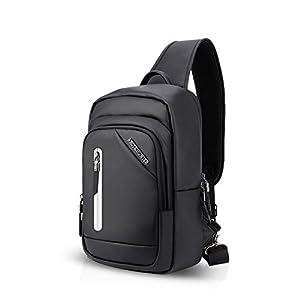 41VfsL8mZtL. SS300  - FANDARE Unisexo Bolso Pecho, Impermeable Bandoleras Cruzada, Gimnasio Hiking Gym Bag Ciclismo Bolso con USB, Senderismo…