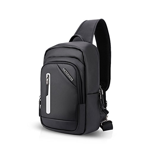 FANDARE Sling Bag Monospalla Borse a Spalla Zaino Spalla Borsa a Tracolla Crossbody Bag Borsello Marsupio Zainetto Crossbody Chest Bag Hiking Bag Zaino Uomo Donne Impermeabile Poliestere Nero