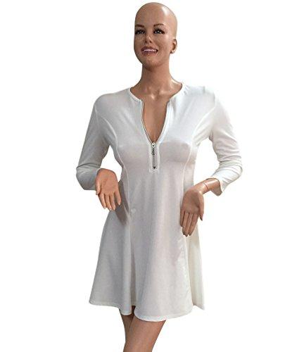 WanYang Damen Reißverschluss Kleid V Ausschnitt Langärmelig Kleid Taille Hochkragen Schlanke Geschnittenes Mit V Ausschnitt Weiß