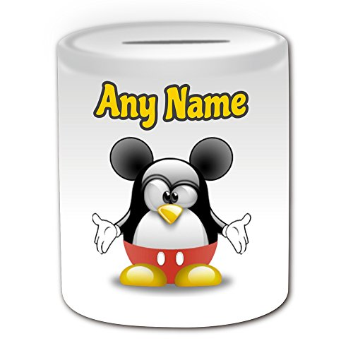 Personalisiertes Geschenk–Mickey Mouse Spardose (Pinguin Cartoon Charakter Kostüm -