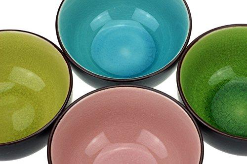 4 x urbano tazza di tè Stile di vita, Matcha ciotola impostato in 4 diversi colori