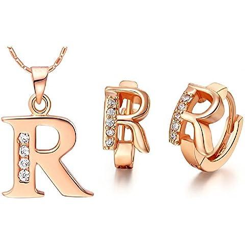 Bling fashion 18K oro rosa placcato 26lettere lettera R Orecchini e (Dragonfly 9 Accent)