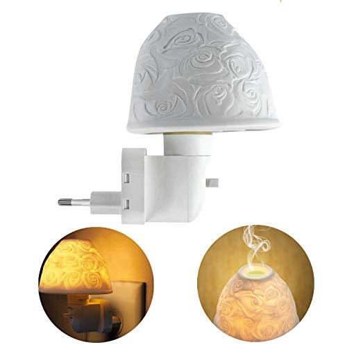 Nachtlicht Steckdose, Kimfly Keramik Kunst Nachtlicht Kind mit ätherischem Öl Aromatherapie Ofen und Glühbirne für Schlafzimmer (Warmweiß) [Energieklasse A+] -
