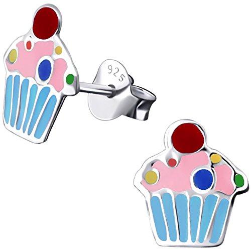 JAYARE Kinder-Ohrstecker Muffin Cupcake 925 Sterling Silber Emaille hell-blau rosa pink 9 x 8 mm Mädchen-Ohrringe