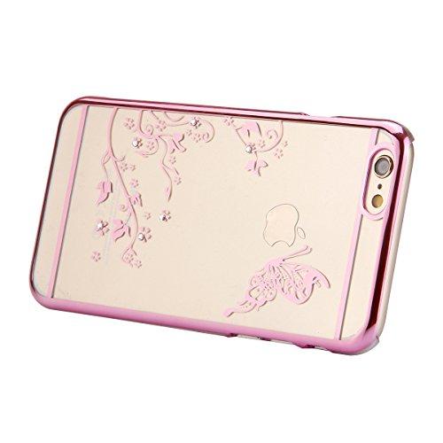 Cover iPhone 6S Plus,Cover iPhone 6 Plus, ikasus® iPhone 6 Plus / 6S Plus Case Custodia Cover [Cristallo Trasparente] Protettiva trasparente con motivo floreale farfalla che scorre copertura dura di p farfalla:Rosa