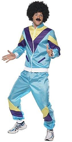 Herren 80s Jahre 1980s Jahre Schalen-Anzug Retro Trainingsanzug 118 118 Liverpooler Junggesellenabschied Kostüm Kleid Outfit M-XL - Blau, Large