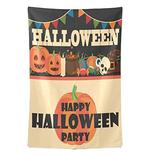 CHSUNHEY Wandteppiche Happy Halloween Tapestry Candy Pumpkins Skull Tapestry Wall Hanging Hippie Bohemian Tapestries for Beach Blanket,Pick Nick Blanket,Table Cloth Wall Art 60X80
