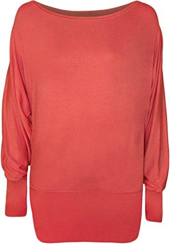 WearAll - Top Uni Chauve-Souris à Manches Longues - Hauts - Femmes - Tailles 36-42 Corail
