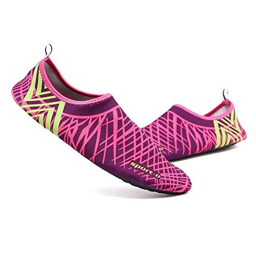 Mayzero Unisexe Chaussures De L'eau Pour Les Hommes Et Les Femmes Aqua Chaussettes Pour La Plongée De Natation Plage Surf Yoga Rose-8