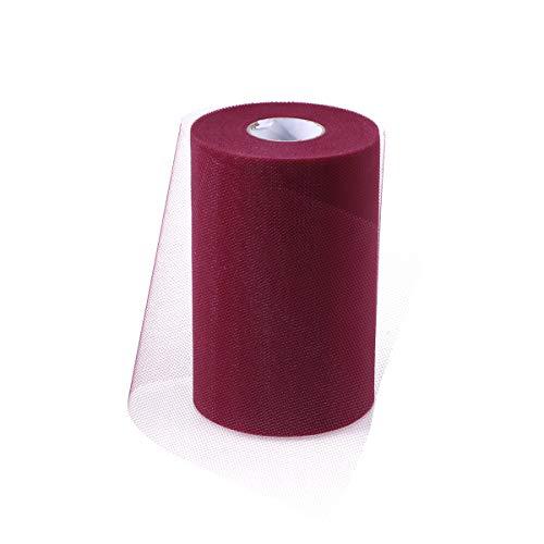Supvox Tüll Rollen 15 cm x 100 Yards Sonderfarbe für Hochzeit Tischläufer Stuhl Schärpe Bogen Tutu Rock Nähen (C18, Weinrot) (Für Bögen Stuhl Hochzeiten)