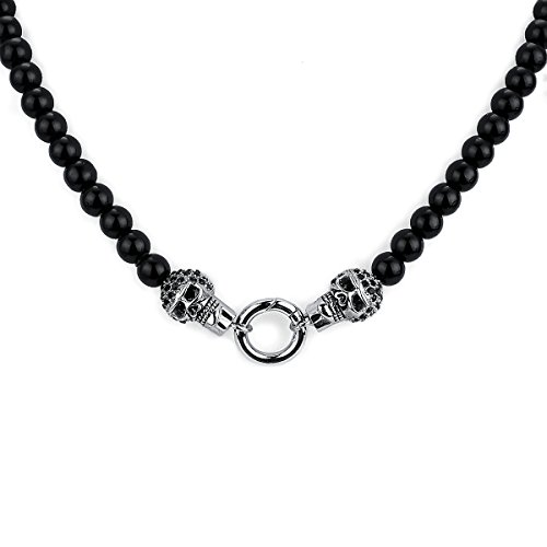 APE7® A305 Biker Schwarze Onyx Perlen Halskette mit 2 Edelstahl black Stone Skull am Ring Gothic Punk 51cm lang