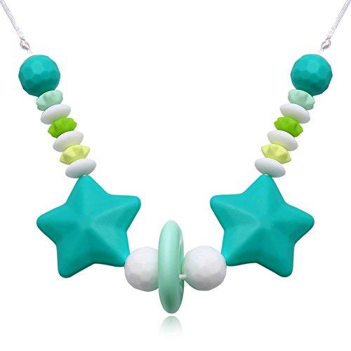 Modeschmuck Unterschied Zwischen Modeschmuck Und (Beydodo Beißringe Baby Kette Lebensmittelechtes Silikon Zahnen Anhänger Halskette Blau Sterne mit Beads Chewelry Mama Kette Länge)