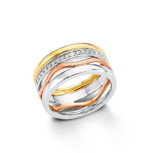 S.Oliver Damen-Ring Silber vergoldet teilvergoldet Zirkonia weiß Gr. 52 (16.6) - 508742