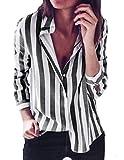 DoubleYI Damen Bluse Damen Casual Mode Gestreifte Umlegekragen Top T-Shirt Lose Herbst Bluse Langarm O- Ausschnitt T-Shirt (L, BK)