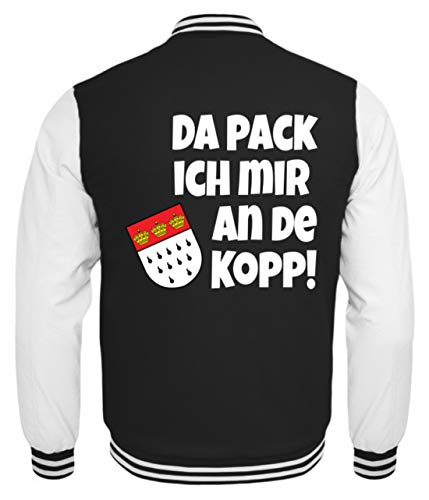 Kostüm College Humor - Köln - Da Pack Ich Mir An De Kopp! Karneval - Geschenk - Überraschung - Colonia - Alaaf - Kinder College Sweatjacke -5/6 (110/116)-Schwarz-Weiss
