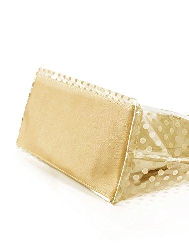 Allegra K Donna Pois Stampe Trasparente Chiusura A Zip Pannello Design Borsa grande w borsa Beige
