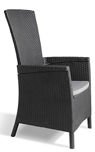 Allibert Vermont in vimini chaise longue reclinabile sedia da pranzo