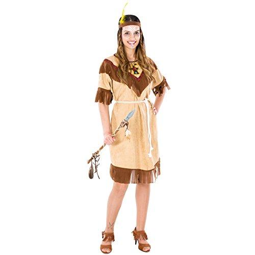 Rock Star Ideen Kostüm Baby (Frauenkostüm Indianerin | schönes Kleid + Bindeband mit Federn | Squaw Indianer Verkleidung (XXL | Nr.)
