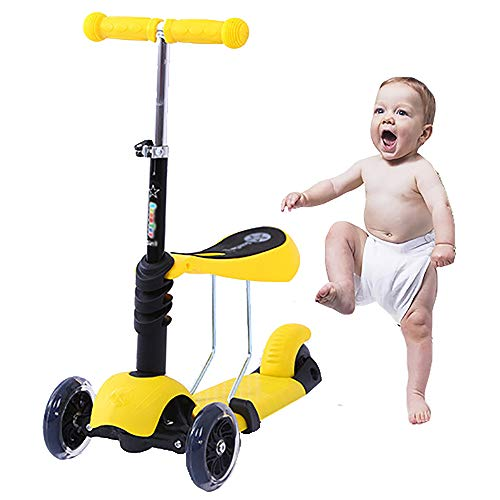 SCYJ-YY DREI-In-One-Kinderroller, Baby-Wanderer, justierbarer Handgriff Lüftungs Kissen, LED-Licht-Rad für Kinder von 1 bis 12 Jahre alt