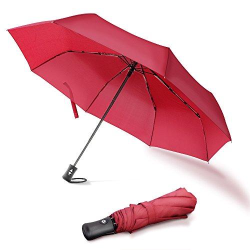 Regenschirm Damen Taschenschirm Damen Sturmfest Automatik Leicht und Schnelltrocknend, Rot